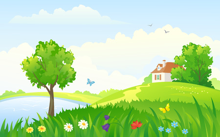 Vector illustration of a beautiful rural landscape Çizim
