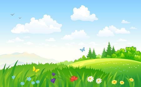 illustration of a green summer landscape