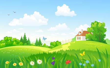 green hills: Vector illustration of a summer landscape with a home