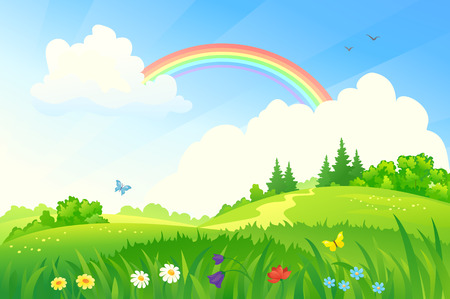 meadows: Vector illustration of a beautiful summer landscape with a rainbow
