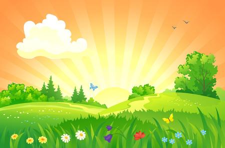 illustration of a summer sunset landscape