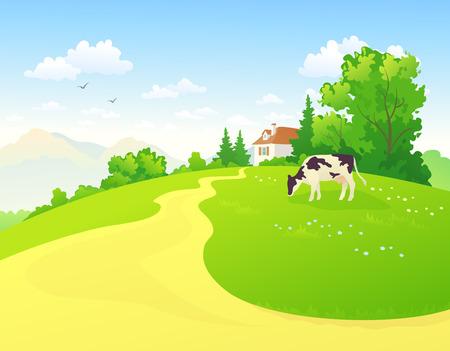 vaca caricatura: Escena rural verano
