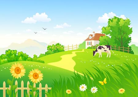 vaca caricatura: Escena rural con una vaca