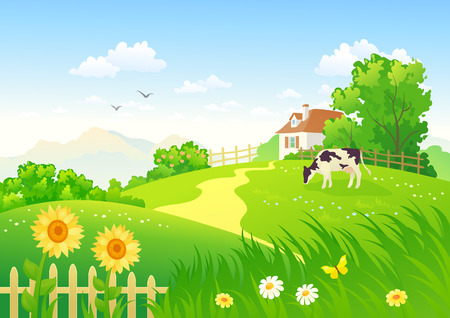 rural houses: Rural scene with a cow Illustration