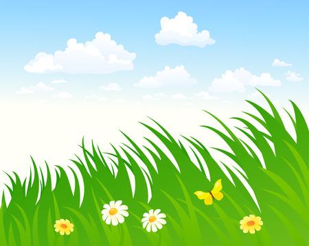 Sky and grass background Vetores