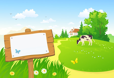 cow cartoon: Countryside wooden sign