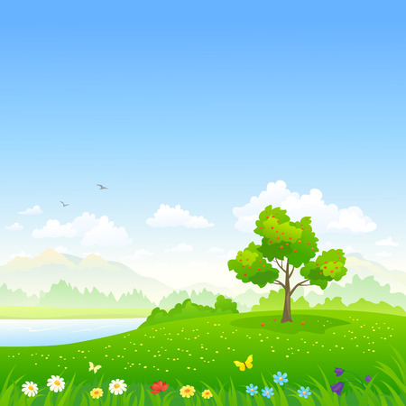 Vector illustration of a summer landscape Иллюстрация