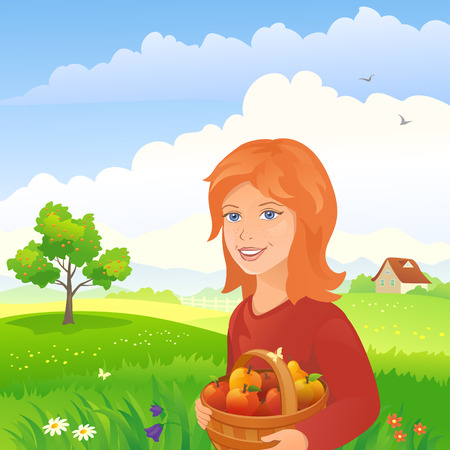 picking: Vector illustration of a girl picking apples and pears