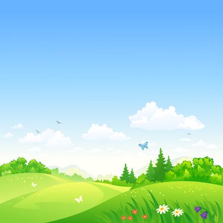 風景: 一個夏天的風景畫卷的矢量插圖