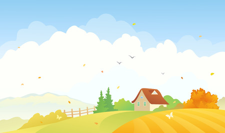 cartoon wind: Vector illustration of a fall countryside landscape with a small house