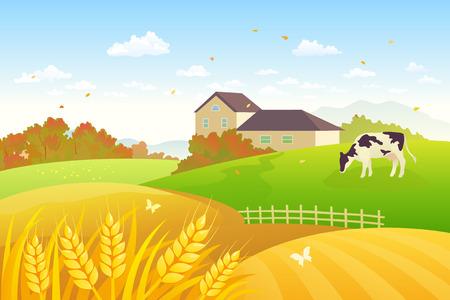Ilustración vectorial de una escena hermosa campiña de otoño con una vaca de pastoreo y campos de trigo