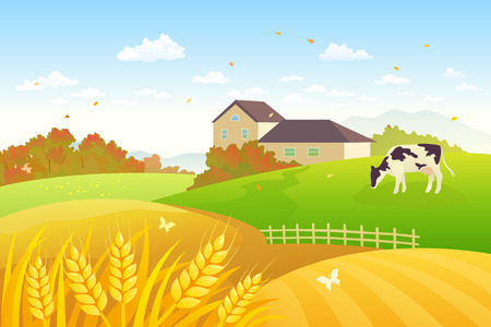 fields: Vector illustration of a beautiful fall countryside scene with a grazing cow and wheat fields
