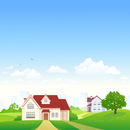 HOUSES: Vector illustration of a landscape with suburban houses