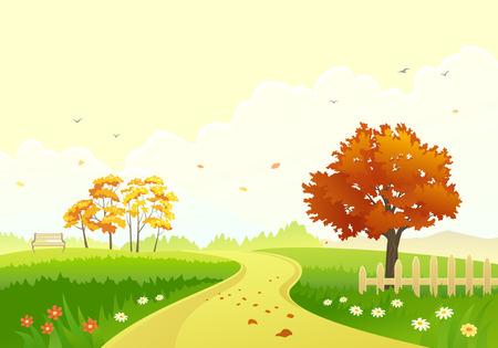 ilustración de un parque de otoño con árboles brillantes follaje