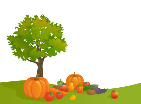 arboles frutales: ilustración de una escena de la cosecha de otoño sobre fondo blanco