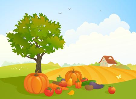 cloud clipart: illustration of a harvest time landscape