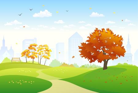 秋の都市公園のイラスト  イラスト・ベクター素材