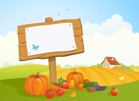 harvest time: illustration of a fall harvest and Thanksgiving landscape with a wooden signboard