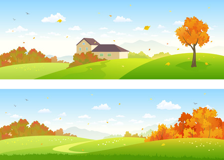 Vector illustration of beautiful autumn panoramic landscapes with a house and woods Çizim