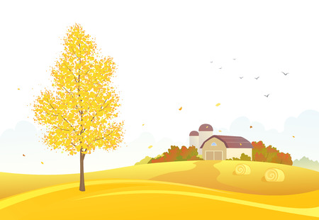 hay bale: Vector illustration of an autumn farm scene on a white background