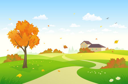 Vector illustration of an autumn landscape with a house and bright autumn foliage