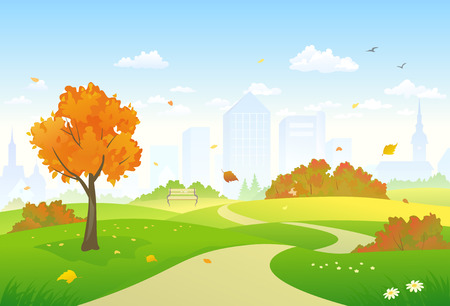 Vector illustration of a beautiful autumn city park alley Çizim