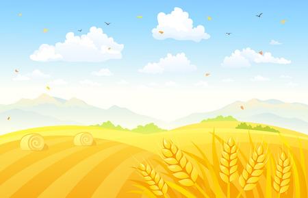 granja: Ilustraci�n vectorial de un hermoso fondo de oto�o con los campos de trigo
