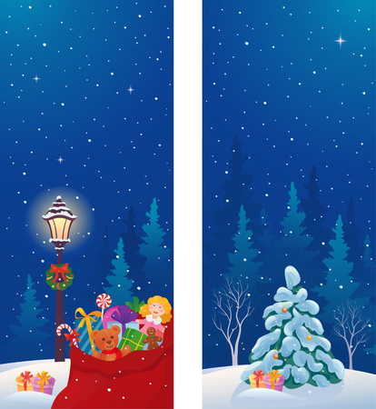 christmas time: Vector illustration of snowy night vertical banners with Santas sack and xmas tree Illustration