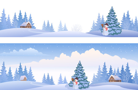 frosty the snowman: Vector banners with winter panoramic landscapes