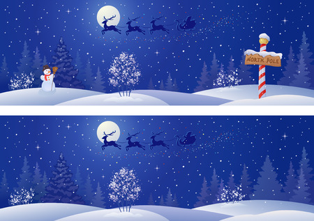 Vector illustration of a Santa sleigh flying above snowy night woods Stock Illustratie