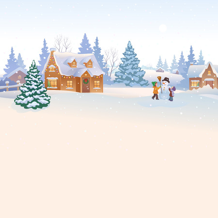 illustration of snowy countryside background with kids making a snowman
