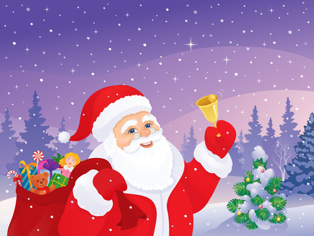 covered in snow: Vector illustration of cheerful Santa Claus ringing the bell at a snowy forest