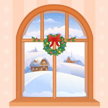 finestra: Illustrazione vettoriale di una finestra vista di Natale con un paesaggio innevato