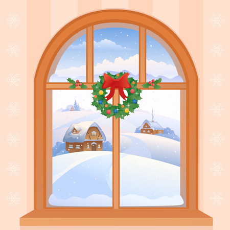 Vector illustration of a Christmas window view with a snowy landscape Illustration