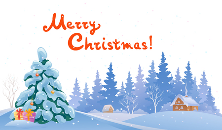 snow covered: Vector illustration of a winter snow covered landscape, with handwritten Merry Christmas text Illustration
