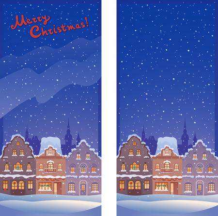 クリスマスの古い町垂直バナーのベクトル イラスト