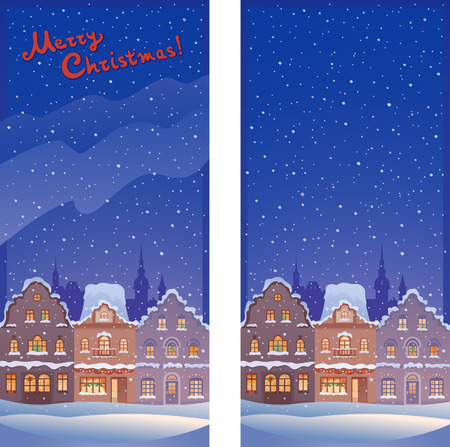 Vector illustration of Christmas old town vertical banners