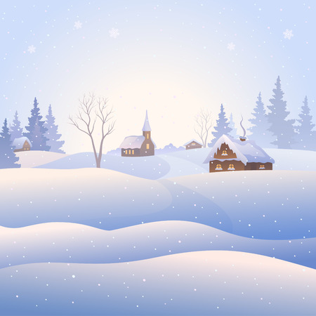 home clipart: Vector illustration of a snowy village landscape, square background