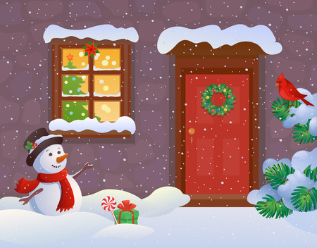 Vector cartoon illustration of a snowy house entrance and a greeting snowman