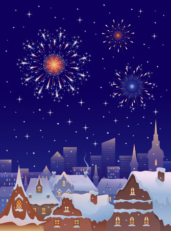 rooftop: Vector illustration of fireworks in a winter old city