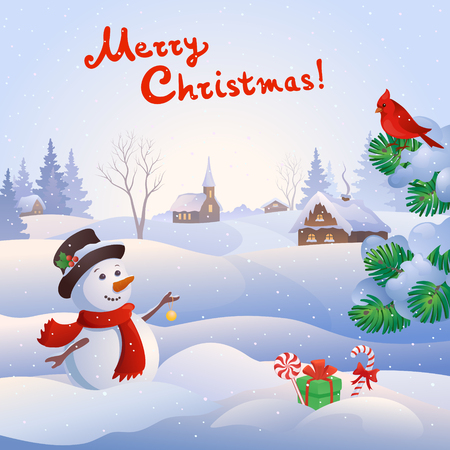Vector cartoon illustration of a cute snowman at a small snowy village and handwritten Merry Christmas text