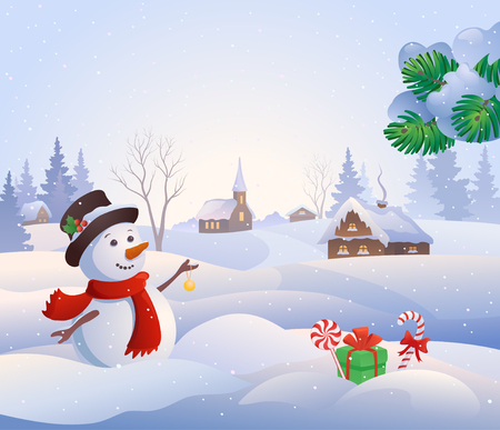cartoon present: Vector cartoon illustration of a cute snowman at a snowy village