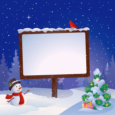 Vector illustration of a snowman at the Christmas signboard and snowy fir tree
