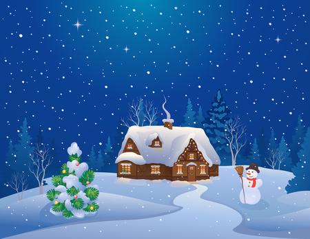Vector illustratie van een besneeuwde Kerstnacht scène met een huis en versierde boom Stockfoto - 47534161