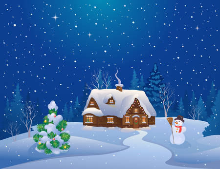 Vector illustration of a snowy Christmas night scene with a home and decorated tree Çizim