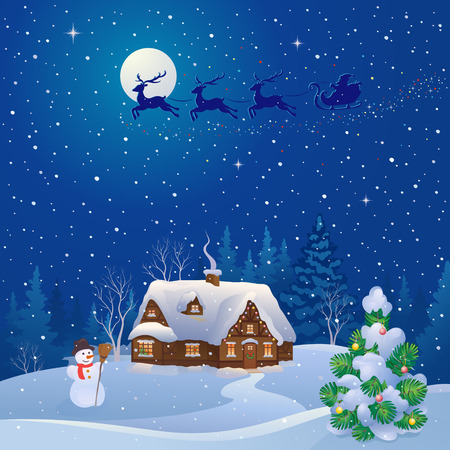 covered in snow: Vector cartoon illustration of a Santa Claus sleigh flying over a snowy house