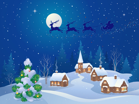 jungle scene: Vector cartoon illustration of a Santa sleigh flying over a small snowy village Illustration