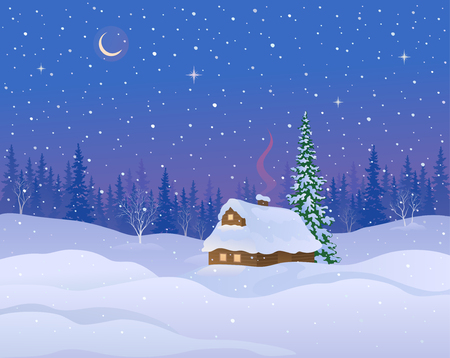 woodland scenery: Vector illustration of a beautiful winter night landscape with a snow covered cabin in woodland
