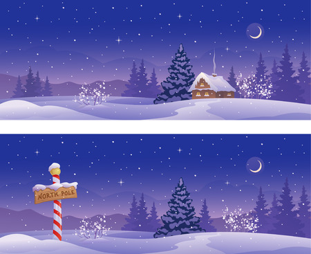 north pole: Vector illustration of Christmas night banners with a North Pole sign and snow covered house