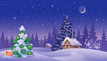 Vector illustratie van een prachtig besneeuwd landschap met een kleine kerstboom en huizen Stock Illustratie